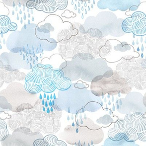 Doodle clouds and rain