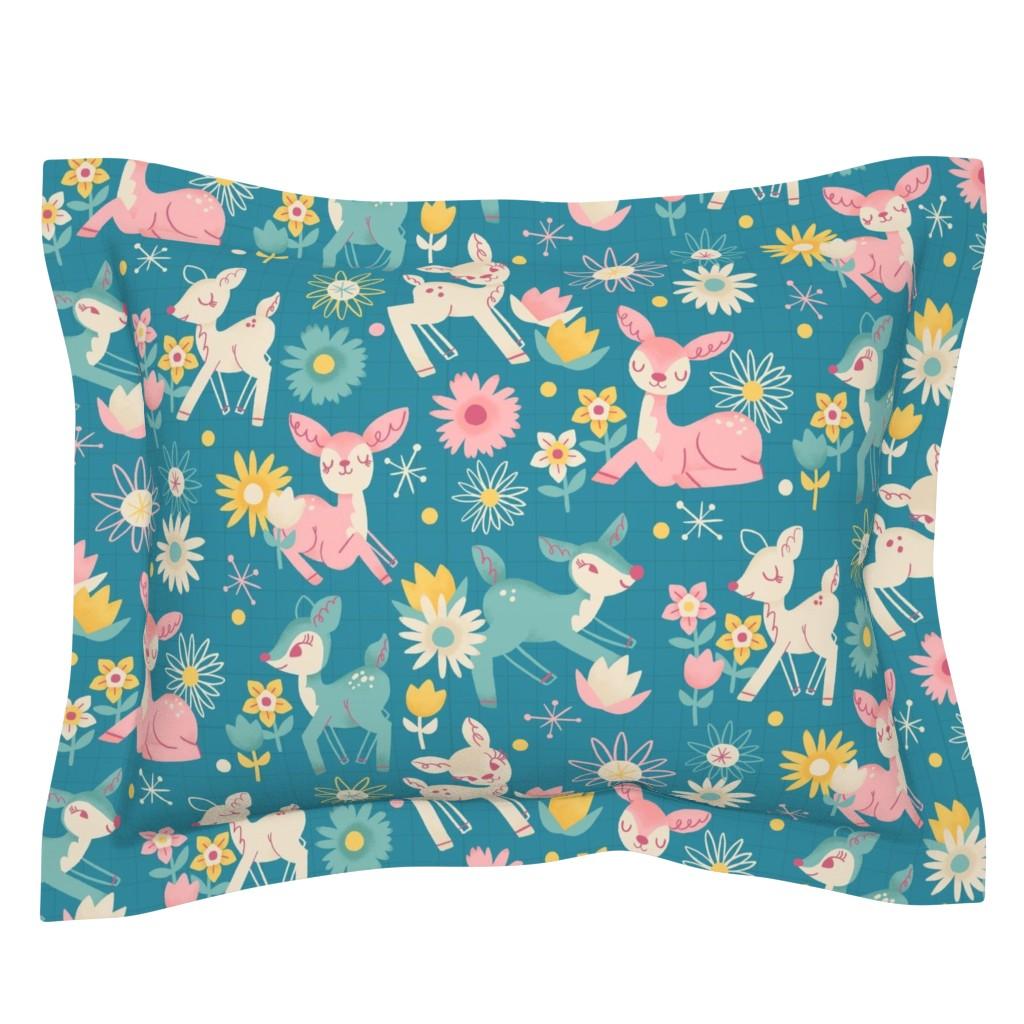Sebright Pillow Sham featuring Darling Deer and Daisies (medium size) by juliagreenillustration