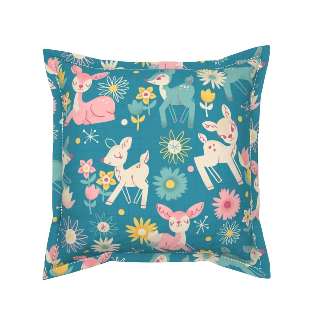 Serama Throw Pillow featuring Darling Deer and Daisies (medium size) by juliagreenillustration