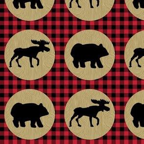 Bear Moose Buffalo Plaid