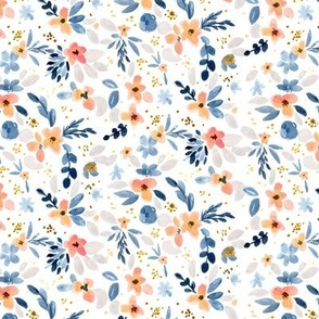 Fawn Floral blue peach white S