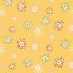 Yellow Ditsy Space Daisy