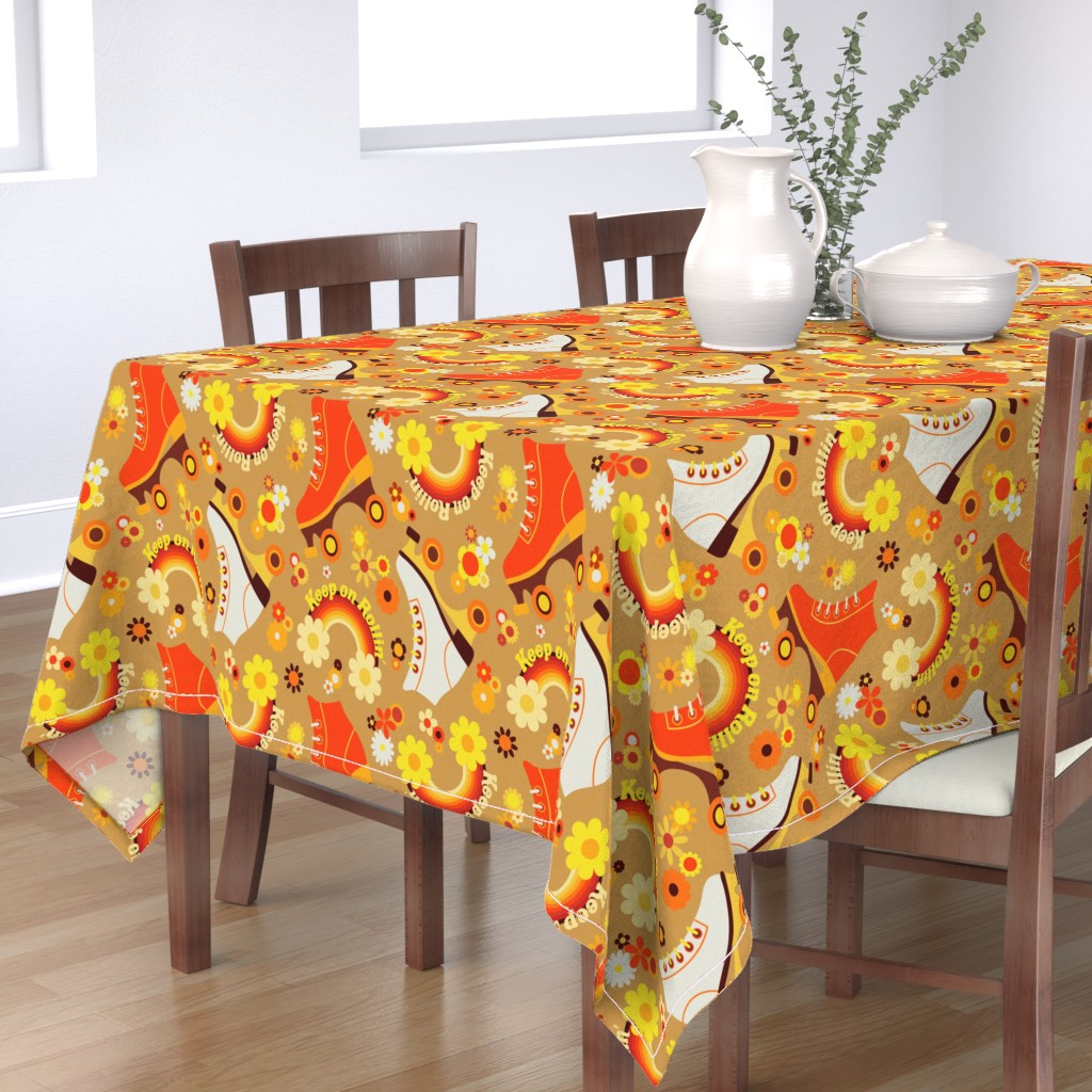 Bantam Rectangular Tablecloth featuring Keep on Rollin' by yesterdaycollection