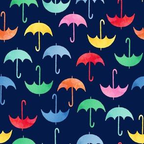 Umbrellas on navy blue