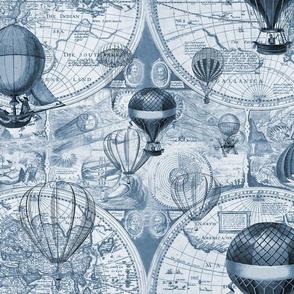 Classic Blue Hot Air Balloons