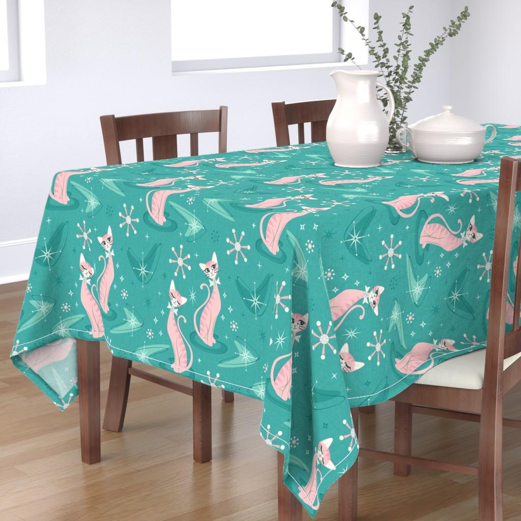 Bantam Rectangular Tablecloth featuring Kitsch Kitten Collectibles © Christine Duffield by studioxtine
