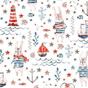 Smaller Watercolor cute sea rabbit sailor
