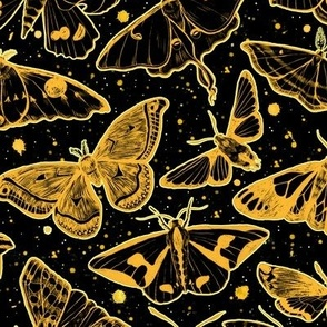 Moth Magic Yellow on Black