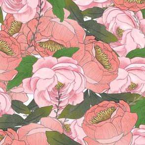 Pink Peonies Large Scale