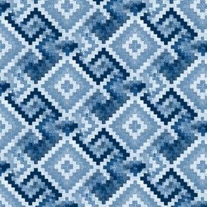 kilim rug design, small scale, blue