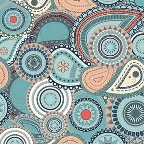 Teal Coral Garden Paisley V2