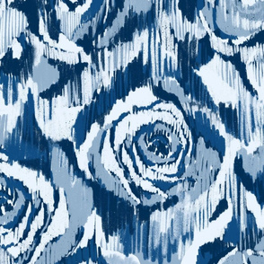 Ikat roses Classic Blue