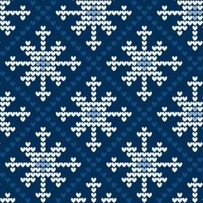 classic blue - heart snowflake dark