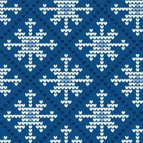 classic blue - heart snowflake