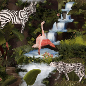 Moody jungle with exotic animals