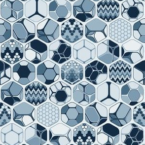 Hexagon mix with patterns, vertical indigo small scale