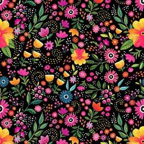 rainbow flowers on black - fabric