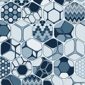 Indigo hexagons one by one, vertical large scale