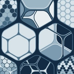 Hexagon mixwith patterns, vertical dark indigo large scale