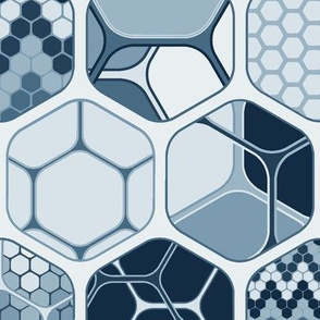 Hexagon mix with patterns, vertical indigo large scale