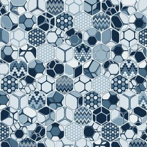 Indigo hexagons one by one, vertical medium scale