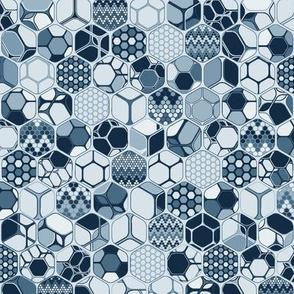 Indigo hexagos one by one, vertical soft indigo medium scale