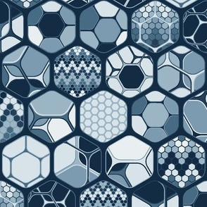 Hexagon mix with patterns, vertical indigo dark medium scale
