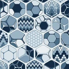 Hexagon mix with patterns, vertical indigo medium scale