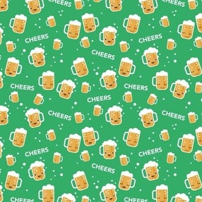 Cheers for beers party drinks St Patrick's Day traditional Irish beer holiday illustration kawaii design grass green stout