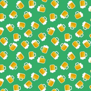 Traditional st patrick's day Irish and german oktoberfest  beer holiday theme illustration print  grass green