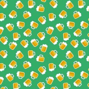 Traditional st patrick's day Irish and german oktoberfest  beer holiday theme illustration print  grass green