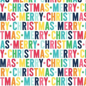merry christmas rainbow with navy UPPERcase
