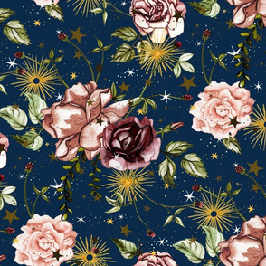 Stars and Sun Boho Floral, wild flower and rose, Large Scale on dark blue, night sky, botanical, astrology, vintage, nursery, stars and flowers