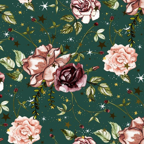 Stars and Sun Boho Floral, wild flower and rose, Large Scale on dark green, emeral, night sky, botanical, astrology, vintage, nursery, stars and flowers