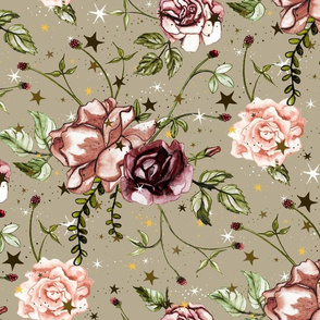 Boho Stars Floral Large Scale on Neutral Beige