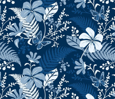 Eden - Botanical Floral Classic Blue Large Scale