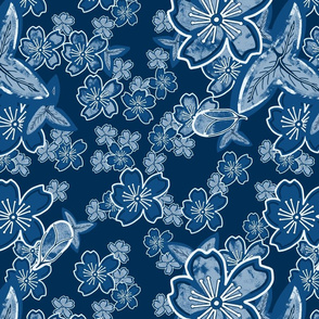 Dark Limited Blue Floral