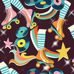 retro disco roller skates aubergine