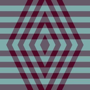 JP8 - Large -Buffalo Plaid Diamonds on Stripes in Rich Burgundy and Teal Pastel