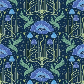 art nouveau poppy blue wallpaper