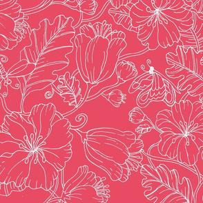floral outline-rose coral