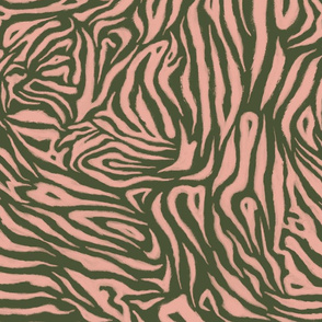 Zebra Sketch Large (Chive and Coral Pink)