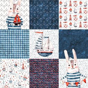 Smaller Watercolor cute sea rabbit sailor. patchwork. quilting
