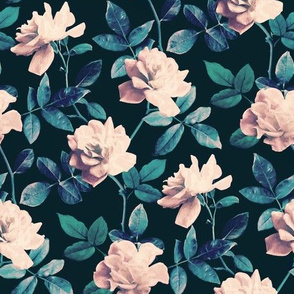 Retro Kitsch Vintage Roses in Mauve Pink on Dark Teal - small