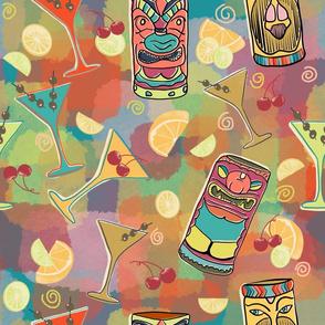 Kitschy Tiki Bar in Teal Background