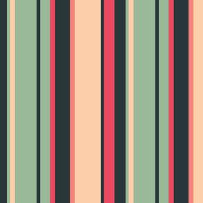 Vintage Green & Red Stripe