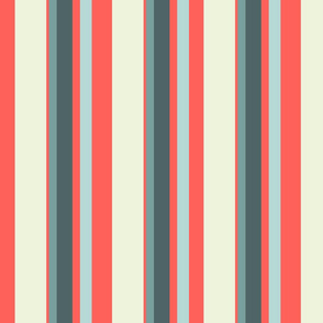 Muted Coral/Moss Stripe