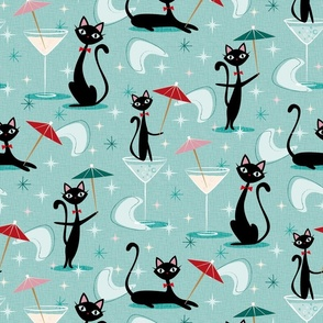cocktail umbrella cats ♦ cool 50s kitsch
