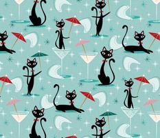 cocktail umbrella cats ♦ cool 50s kitsch