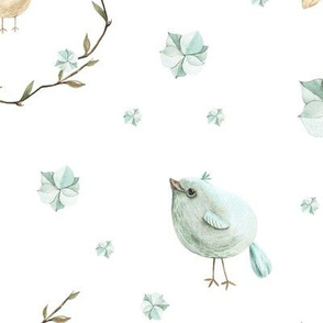Delicate pattern with birds and blue hydrangea